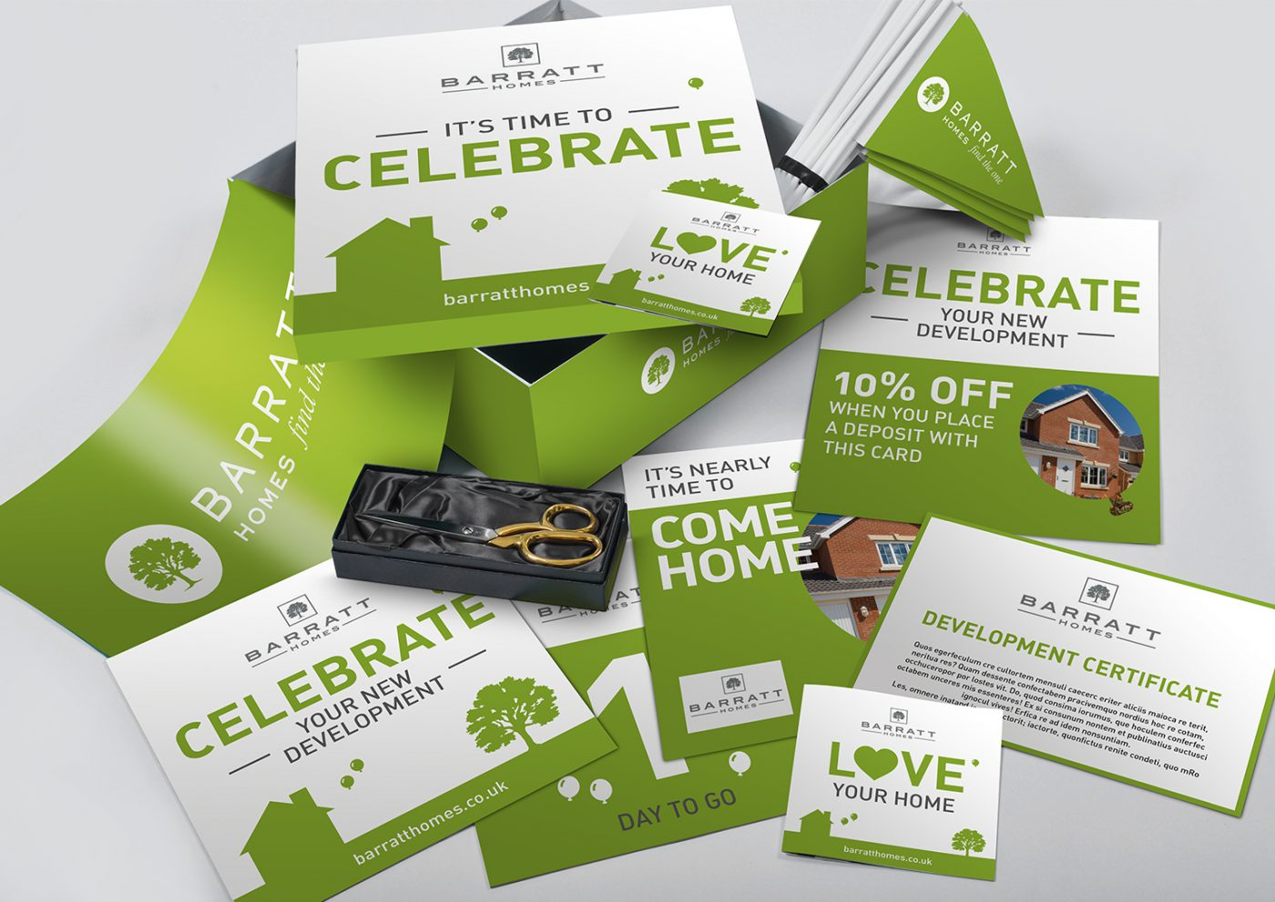 Barrett Homes Marketing Pack. Creative artwork and graphic design.